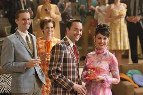 Vincent Kartheiser (center, with Aaron Staton and Alison Brie) is back for season five as Pete Campbell.